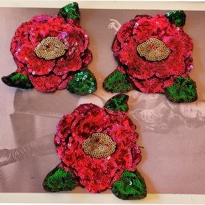 Patch Lot Roses Iron on 3D sequins craft